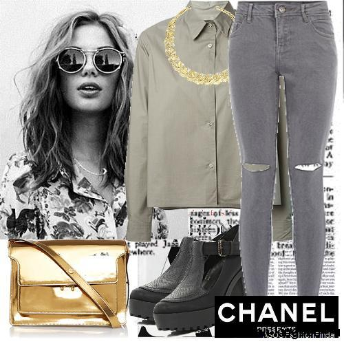 Серые джинсы с завышенной талией и прорезями сочетаются с рубашкой серо-зеленого оттенка, золотистой сумочкой и черными туфлями на массивном каблуке.