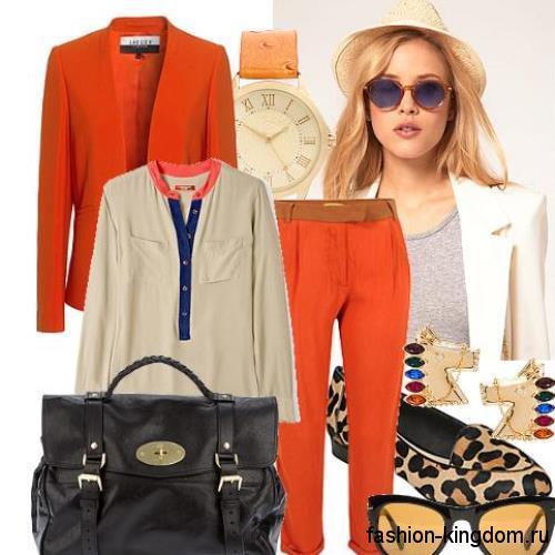 Короткие прямые брюки оранжевого цвета создадут модный образ в сочетании с блузкой серого тона полуприталенного фасона, пиджаком морковного оттенка классического кроя, дамской черной сумочкой и туфлями леопардовой расцветки на низком ходу.