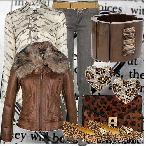 Серые джинсы прямого фасона сочетаются с блузкой серого тона с полосатым принтом, коричневой кожаной курткой приталенного силуэта, клатчем и туфлями леопардовой расцветки.