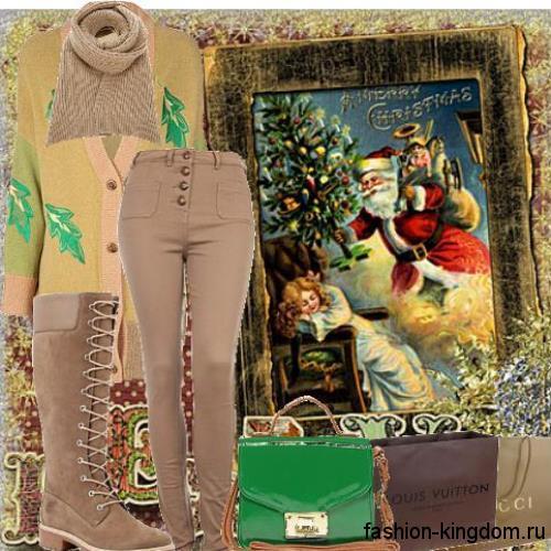 Зимние сапоги цвета капучино на низком ходу гармонируют с узкими брюками и аксессуарами в тон обуви.