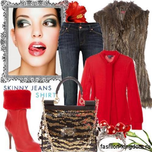 Короткие сапоги красного цвета на высоком каблуке, декорированные мехом, в тандеме с темно-синими джинсами, красной шифоновой блузкой и меховой жилеткой коричневого тона.