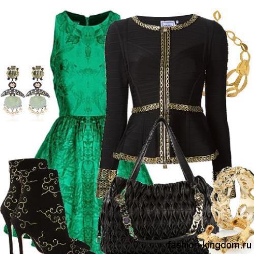 Вечернее платье-миди зеленого цвета с принтом и пышной юбкой гармонирует с приталенным жакетом черного тона, ботильонами на каблуке и сумочкой черной расцветки.