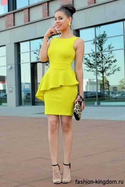 Желтые платья до колен фото