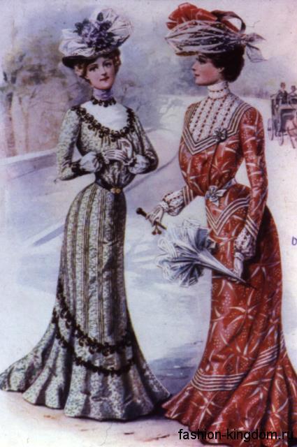 Модные платья длиной в пол 1900-х годов, S-образного кроя, декорированные кружевом и лентами.