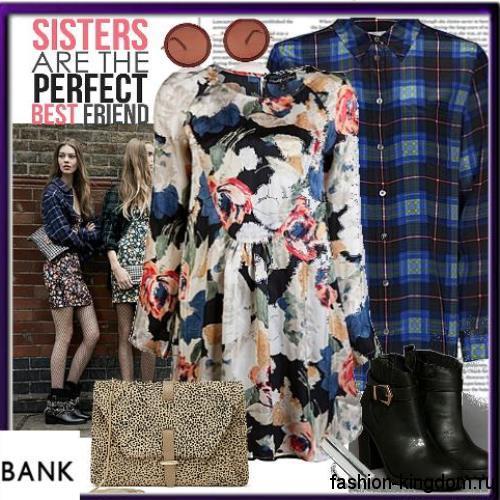 Клетчатая рубашка синего цвета с длинными рукавами дополнит платье с цветочным принтом, длиной до колен и ботинки черного тона на широком каблуке.