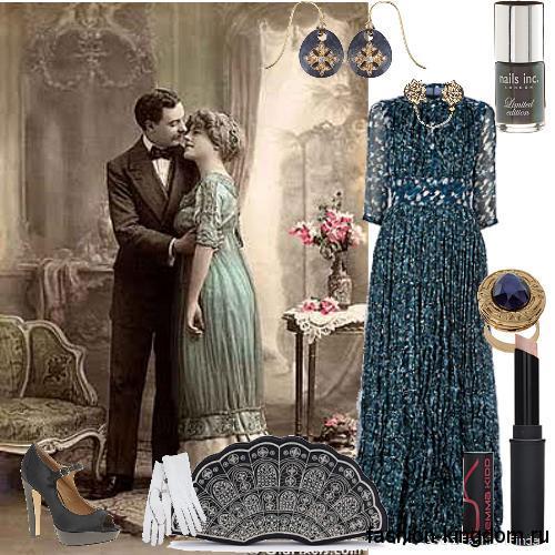 Вечернее платье в стиле 1900 темно-бирюзового цвета, длиной в пол, с рукавами три четверти и ажурными вставками.