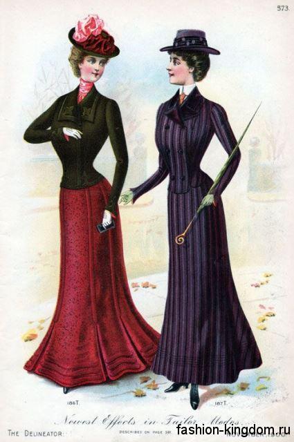 Стильные комплекты 1900-х в виде тандема приталенного жакета с длинной узкой юбкой.