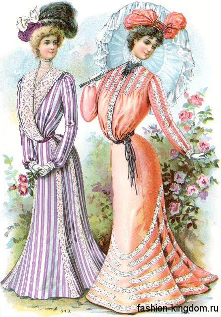 Платья с акцентом на талии 1900-х, пастельных цветов, с рукавами окорок, украшенные бисером и кружевом, гармонируют со шляпами с перьями и большими зонтами.
