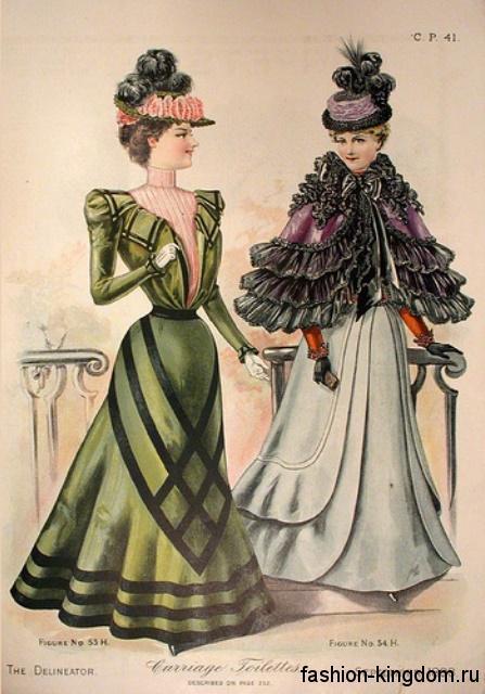 Вечерние длинные платья в моде 1900, с акцентом на талии и длинными рукавами в сочетании со шляпами, декорированными перьями и лентами.