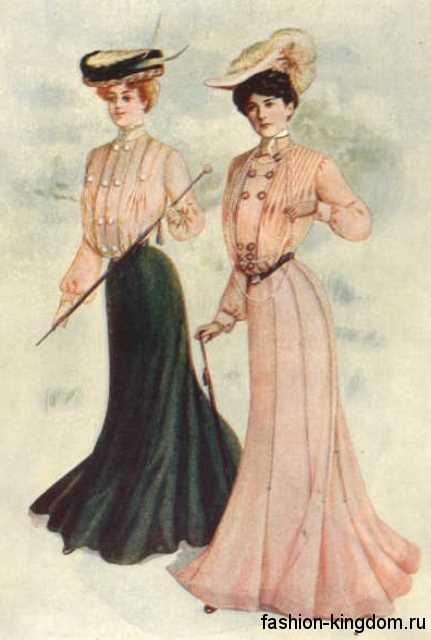 Мода 1900 для женщин – длинные платья и юбки с выделением талии, длинные рукава окорок и элегантные шляпки.