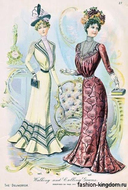 Длинные платья 1900 S-образного кроя, с различным принтом, рукавами окорок, воротником стойкой и декоративными элементами.