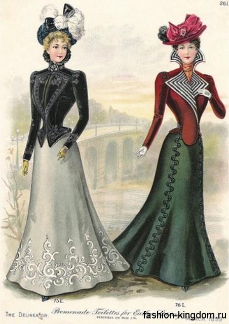 Стильные комплекты в виде длинной юбки и приталенных жакетов 1900-х в сочетании со шляпами, украшенными лентами, перьями и бусинами.