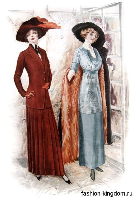 Модные платья 1900-х с завышенной талией, прямой юбкой в сочетании с туфлями на низком каблуке и широкополой шляпой.