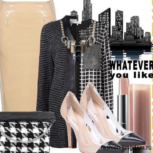 Атласная юбка-карандаш бежевого цвета в тандеме с жакетом черно-белого тона для офисного образа.