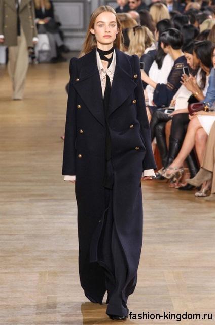 Женское демисезонное пальто длиной в пол, черного цвета, прямого кроя из коллекции Chloe.