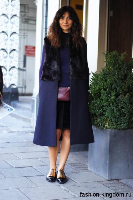 Модные туфли черно-золотистого цвета без каблука дополнят длинное пальто синего тона с меховыми вставками.