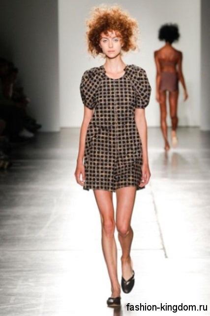 Летнее платье бронзового цвета в стиле кэжуал, длиной мини, с короткими рукавами из коллекции A Detacher.