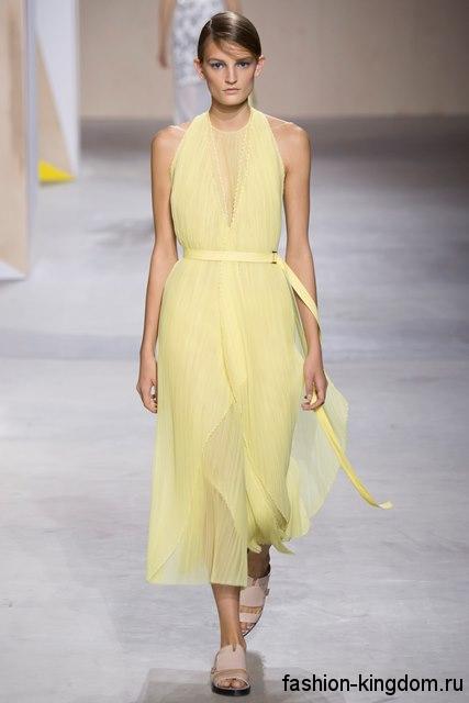 Длинное платье без рукавов, желтого цвета из коллекции весна-лето 2016 от Boss.