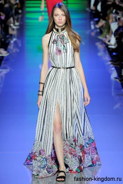 Легкое длинное платье с полосатым принтом, с высоким разрезом из коллекции весна-лето 2016 от Elie Saab.