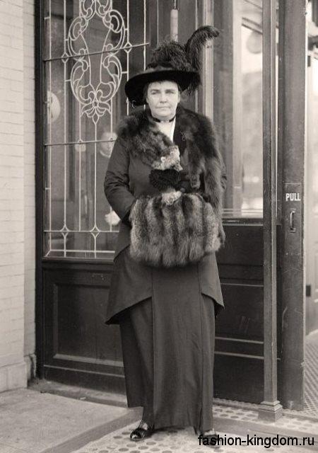 Женские меховые аксессуары в моде 1910-х