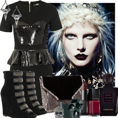 Платье-мини черного цвета с кожаными вставками в готическом стиле носят с ботильонами на платформе и серебряными украшениями.