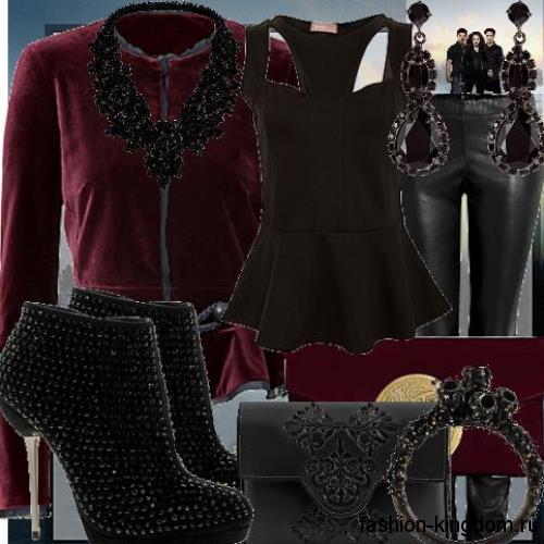 Кожаные черные брюки в сочетании с черным топом и жакетом бордового тона носят с ботильонами и украшениями в готическом стиле.