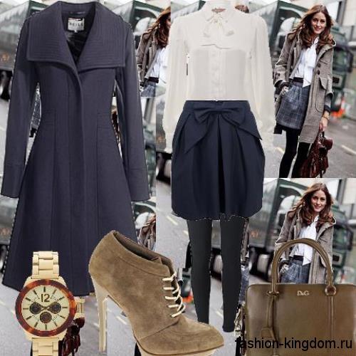 Осеннее пальто приталенного фасона, темно-синего цвета, длиной миди в сочетании с ботильонами болотного тона.