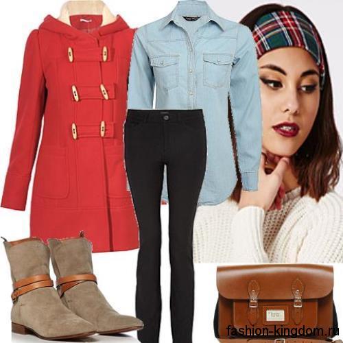 Осеннее пальто красного цвета на каждый день, приталенного фасона, с капюшоном и накладными карманами.