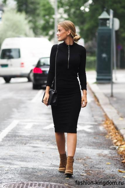 Теплые платья по колено
