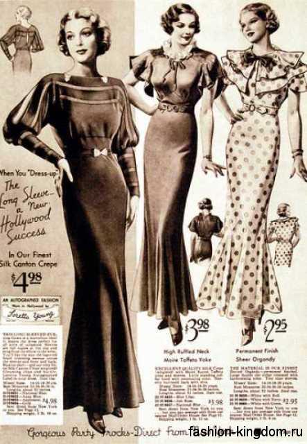 Модные платья 30-х годов, приталенного фасона, с прямыми плечами, расклешенной внизу юбкой и декоративными элементами.