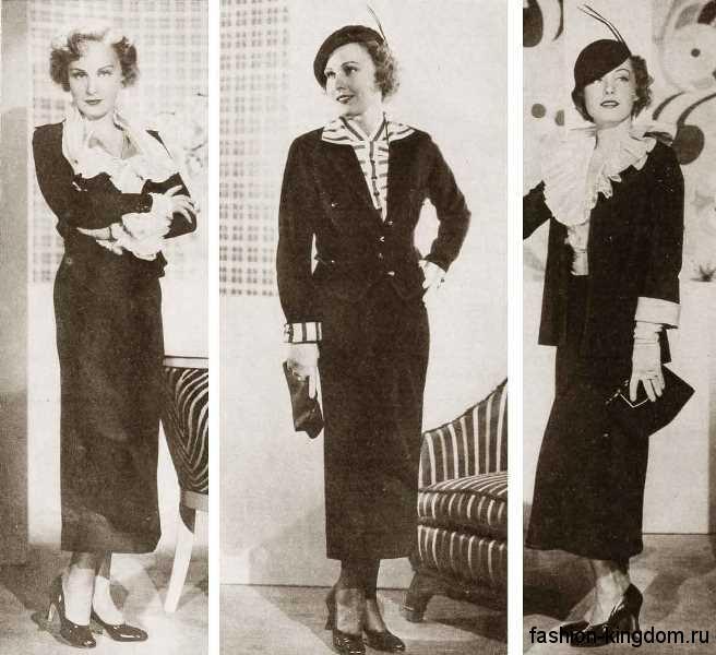 Черные туфли на небольшом каблуке 1930-х годов в сочетании с длинными костюмами и небольшими шляпками.