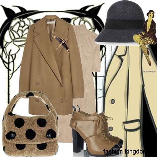 Модная шляпка темно-серого цвета в стиле 30-х годов дополняет короткое коричневое пальто и ботильоны на каблуке.