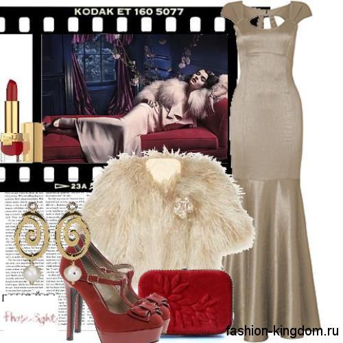 Длинное вечернее платье серебристого цвета в стиле 30-х годов, приталенного фасона, с расклешенной юбкой и открытой спиной.