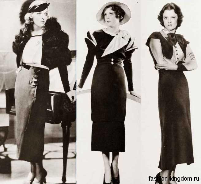 Женские шляпки 1930-х годов дополняют платья и юбки длиной миди, прямого фасона.