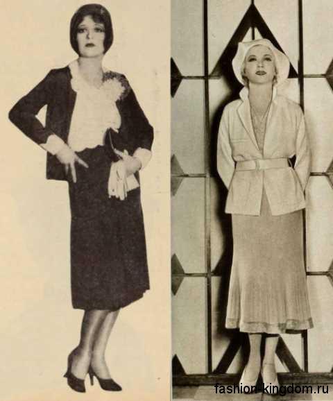 Модные костюмы из юбки и жакета 30-х годов, прямого силуэта, длиной миди в сочетании с небольшими шляпками.