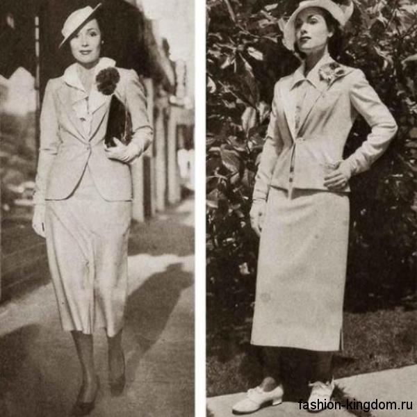 Юбка-миди прямого кроя 30-х годов в сочетании с блузкой и приталенным пиджаком.