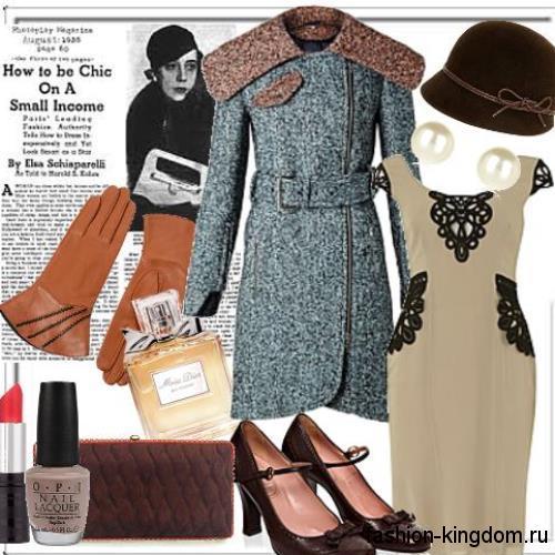 Демисезонное серое пальто в стиле 30-х годов, приталенного фасона в тандеме с небольшой шляпкой и туфлями на каблуке.