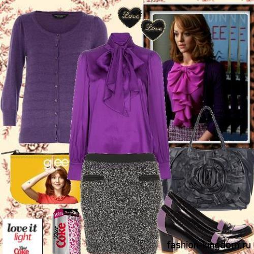 Блузка фиолетового цвета с жабо и длинными рукавами в тандеме с юбкой-миди асфальтного оттенка.