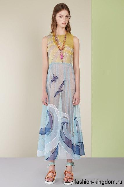 Длинное полупрозрачное платье на лето, желто-голубой расцветки, трапециевидного покроя из коллекции Red Valentino.