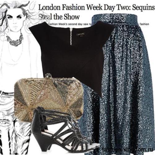 Блестящая юбка-миди темно-серебристого цвета сочетается с черным топом и босоножками на каблуке.