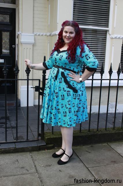 Ретро платье длиной до колен, голубого цвета с черным принтом, с рукавами до локтей для полных девушек.